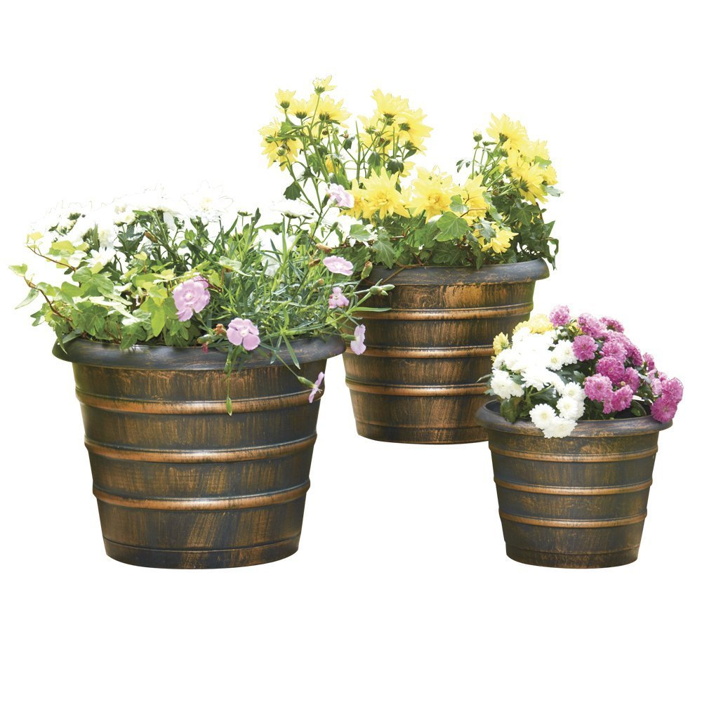 Clifford James Antique Bronze Effect Bee Hive Plastic Garden Planters 3 Pack