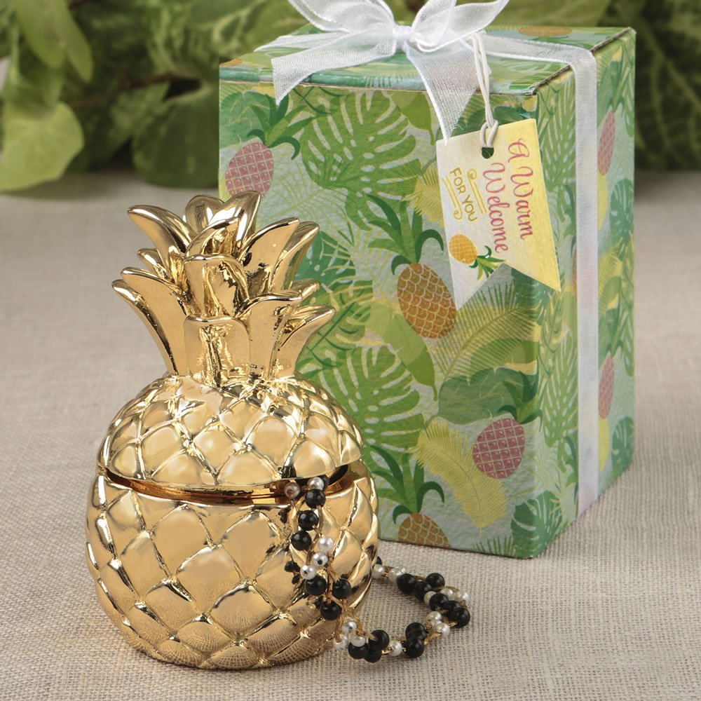 30 Warm Welcome Pineapple Themed Gold Pineapple Boxes by Fashioncraft