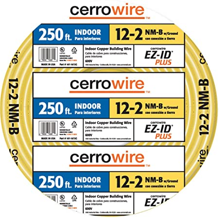 12//3 W//GROUND CERROWIRE INDOOR ELECTRICAL WIRE NM-B Solid Yellow 50 Ft SEALED