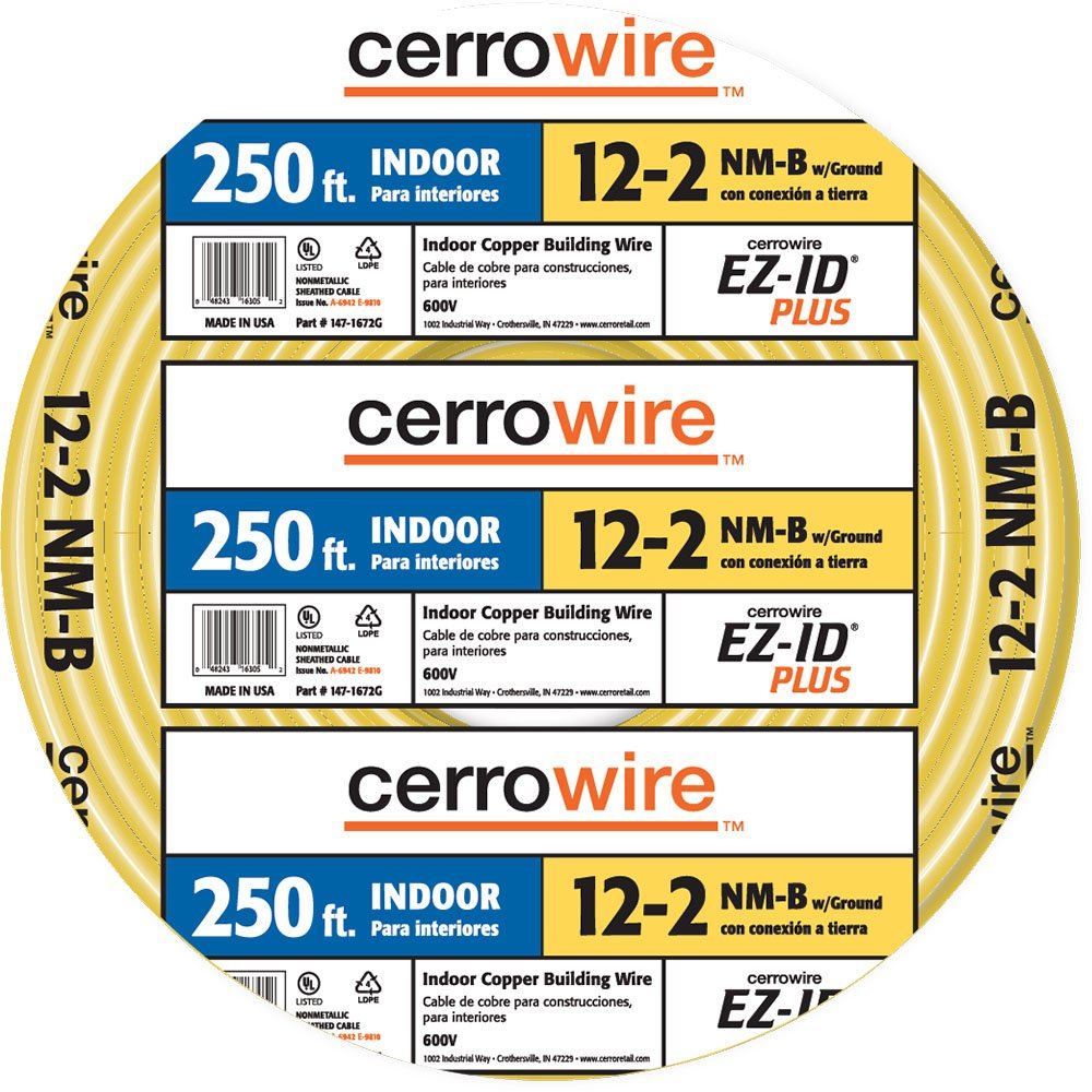 Cerrowire 147 1663g 250 Foot 12 3 Nm B Solid With Ground Electrical Cable Copper Wire Gauge 2 Romex Simpull Yellow Home Improvement