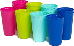 Klickpick Home 20 Ounce- 12 Piece Premium Quality Plastic Beverage Tumblers Reusable Cups Dishwasher Safe BPAFree In 4 Colors