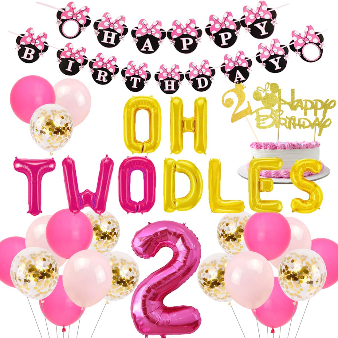 JOYMEMO 2nd Birthday Decorations Themed of Minnie Mouse for Girls, Oh Twodles Number 2 Foil Balloon, Happy Birthday Banner and Minnie Theme Cake ...