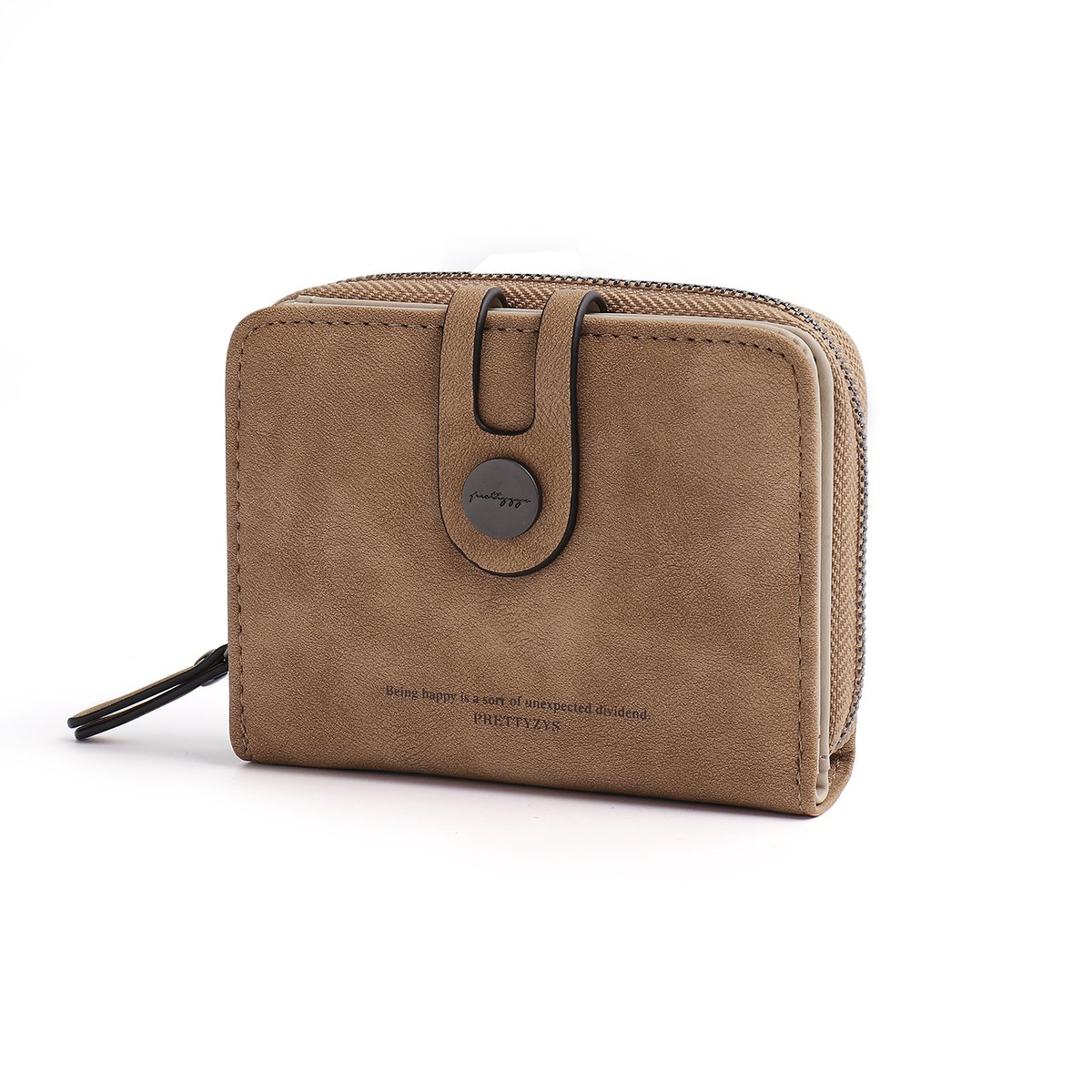 OURBAG Women's Mini Credit Card Case Wallet with ID Window and Card Holder Light Brown Medium