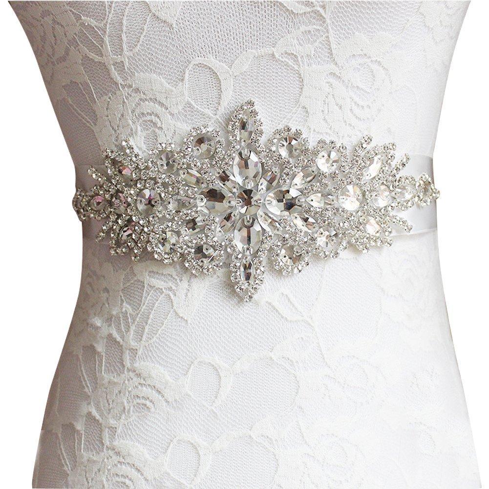 Snowskite Women's Crystal Rhinestones Beaded Wedding Bridal Dresses Sash Belt Black JKAA20-5