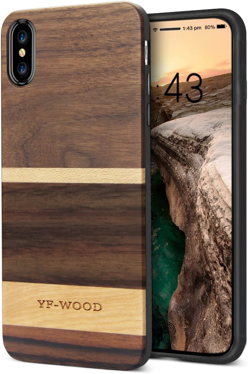 Compatible for iPhone Xs Max Case Wood, Nature Geometric Walnut Wood Stripes Pattern Soft Frame Slim Fit Drop Proof Luxury Hybrid Support Wireless Charging Protective Case for iPhone Xs Max
