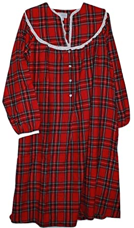 Lanz Of Salzburg Womens Red Plaid Cotton Flannel Nightgown Xl At