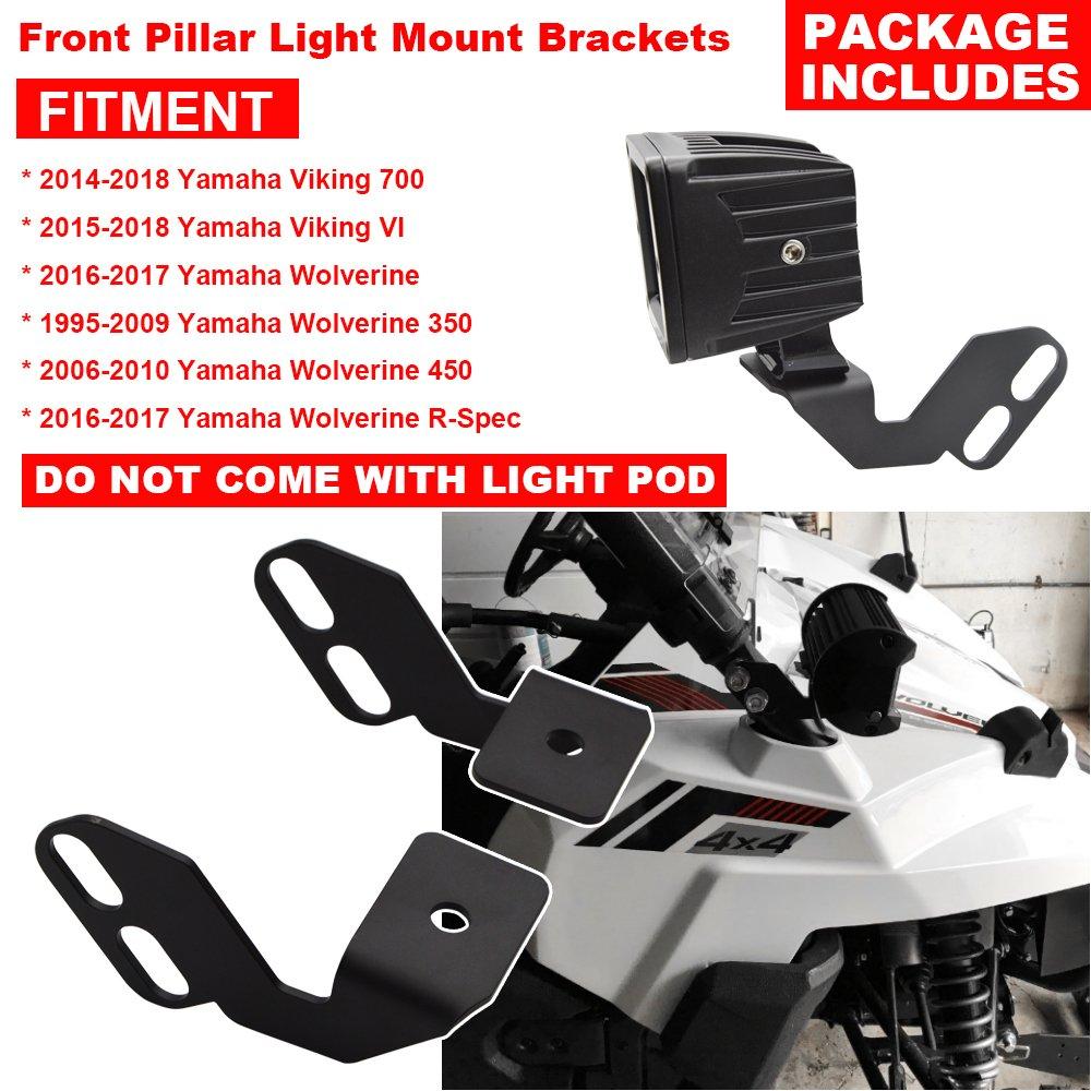 amazon com: front pillar led light mounting brackets fits yamaha viking  wolverine: automotive