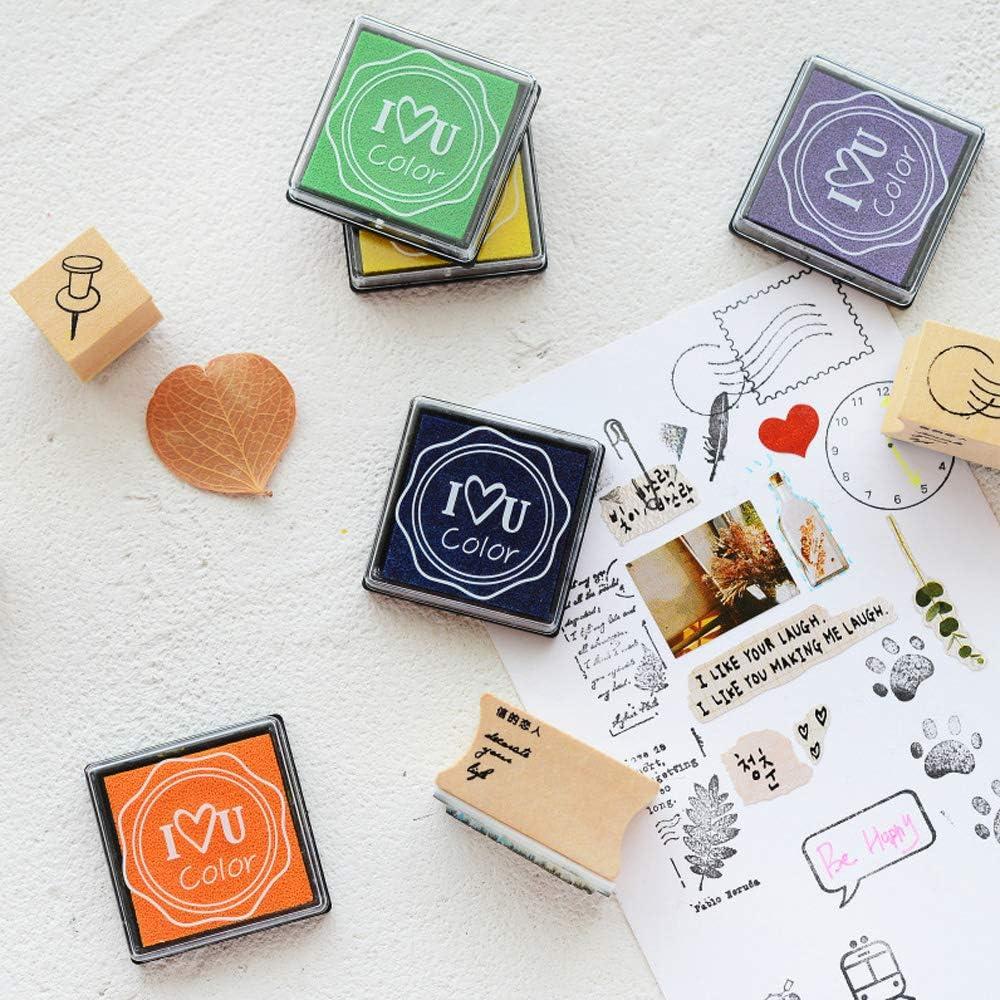 Lavable Non-Toxic Color Ink Inkpad Cadeau pour Enfants Papier Tissu 20 Couleurs Bricolage pour Carte Tampons en Caoutchouc Deer Platz Tampons Encreurs Scrapbooking