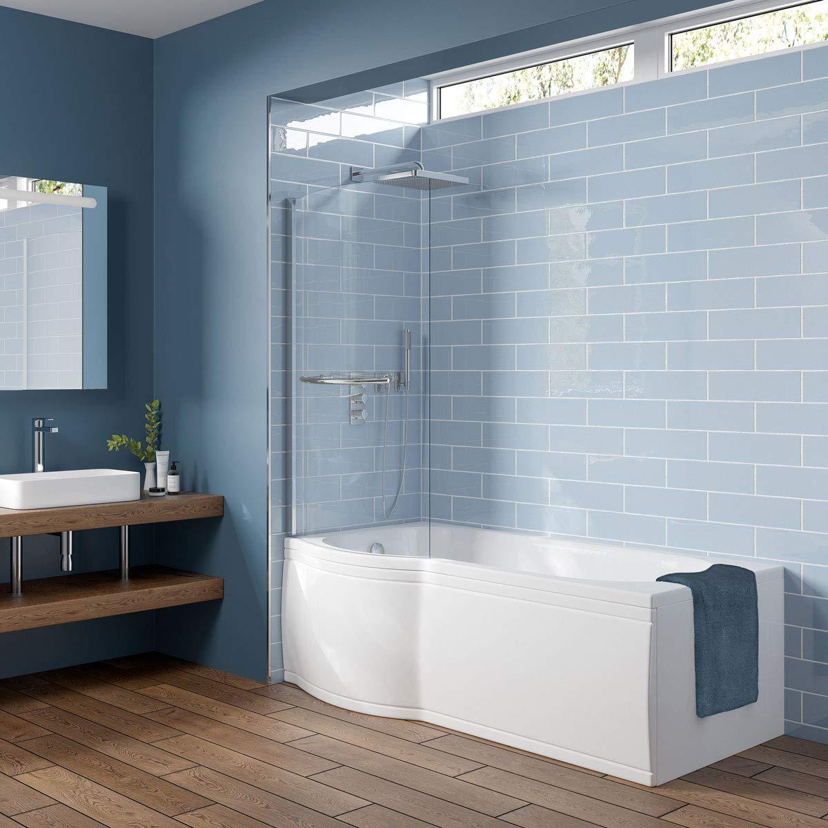 Trojancast Concert Reinforced P Shape Shower Bath 1675 X 850 With