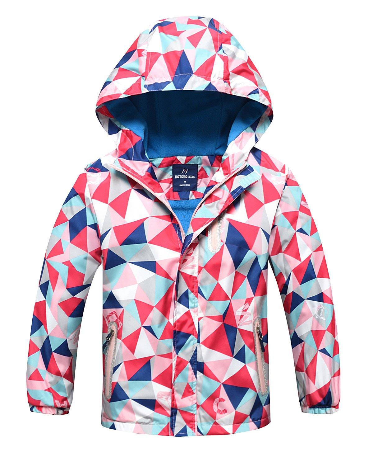 Girls Boys Fleece Lined Windbreaker Warm Hooded Jacket Overcoat Water Resistant Windproof Outerwear with Elastic Cuff, 4T