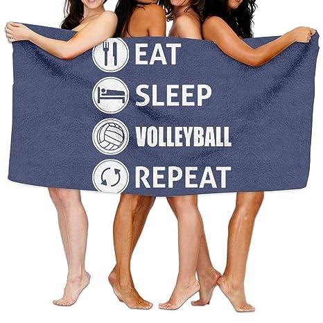 ZengJianSm toalla playa Toallas baño Unisex Eat Sleep Volleyball Repeat Beach Towels Washcloths Bath Towels For