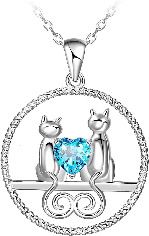 925 Sterling Silver Sweet Heart Cat Kitten Necklace Pendant for Girls 16