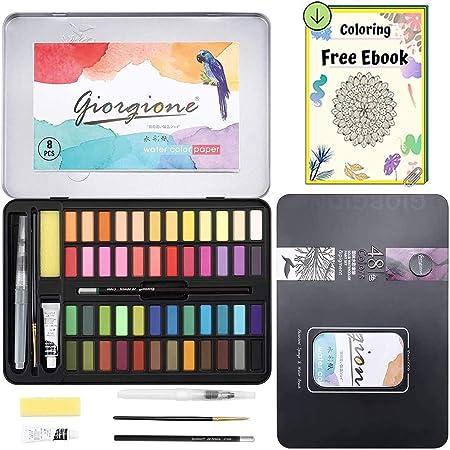 Dazspirit 48 Colores Caja Acuarelas Profesionales & Papel de Acuarela. Versátil, Vibrante y Portátil (48 Colores): Amazon.es: Hogar