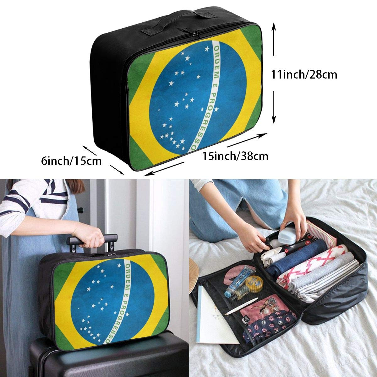 ADGAI Brazil Flag Canvas Travel Weekender Bag,Fashion Custom Lightweight Large Capacity Portable Luggage Bag,Suitcase Trolley Bag