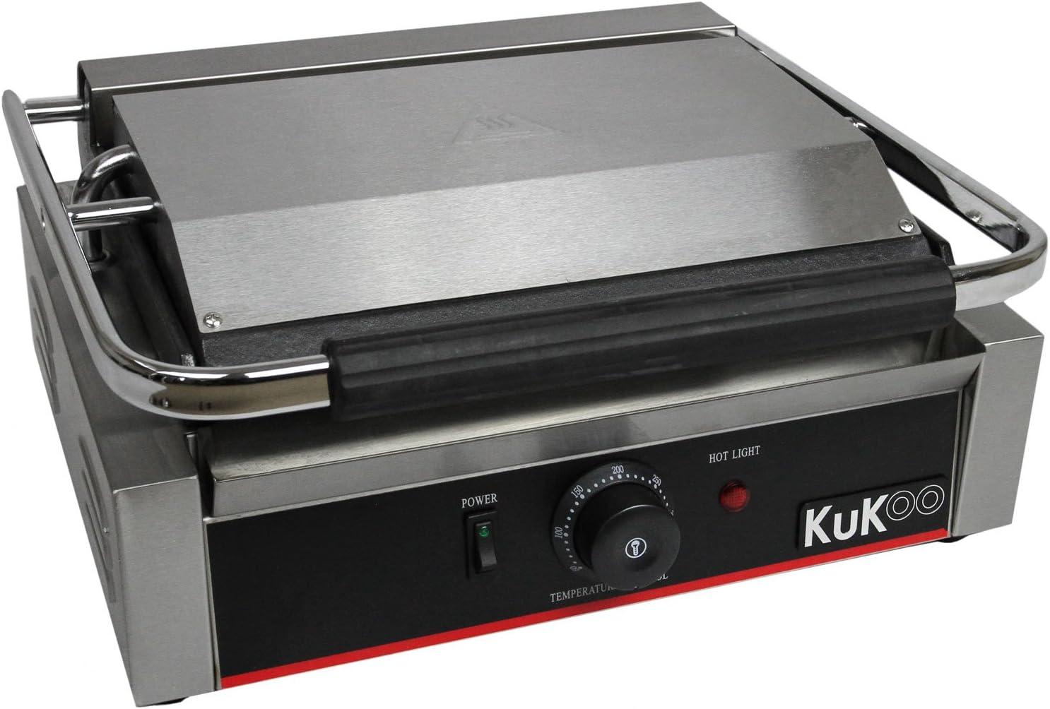 KuKoo – Presse à Panini Professionnel de 2,2kW, Grill à plaque Supérieur Rainurée et plaque Inférieure Plate pour Panini, Sandwich, Toast, Légumes …