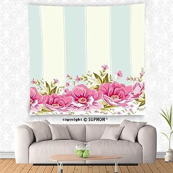 Amazon.com: VROSELV custom tapestry Vintage Tapestry Pink Peony ...