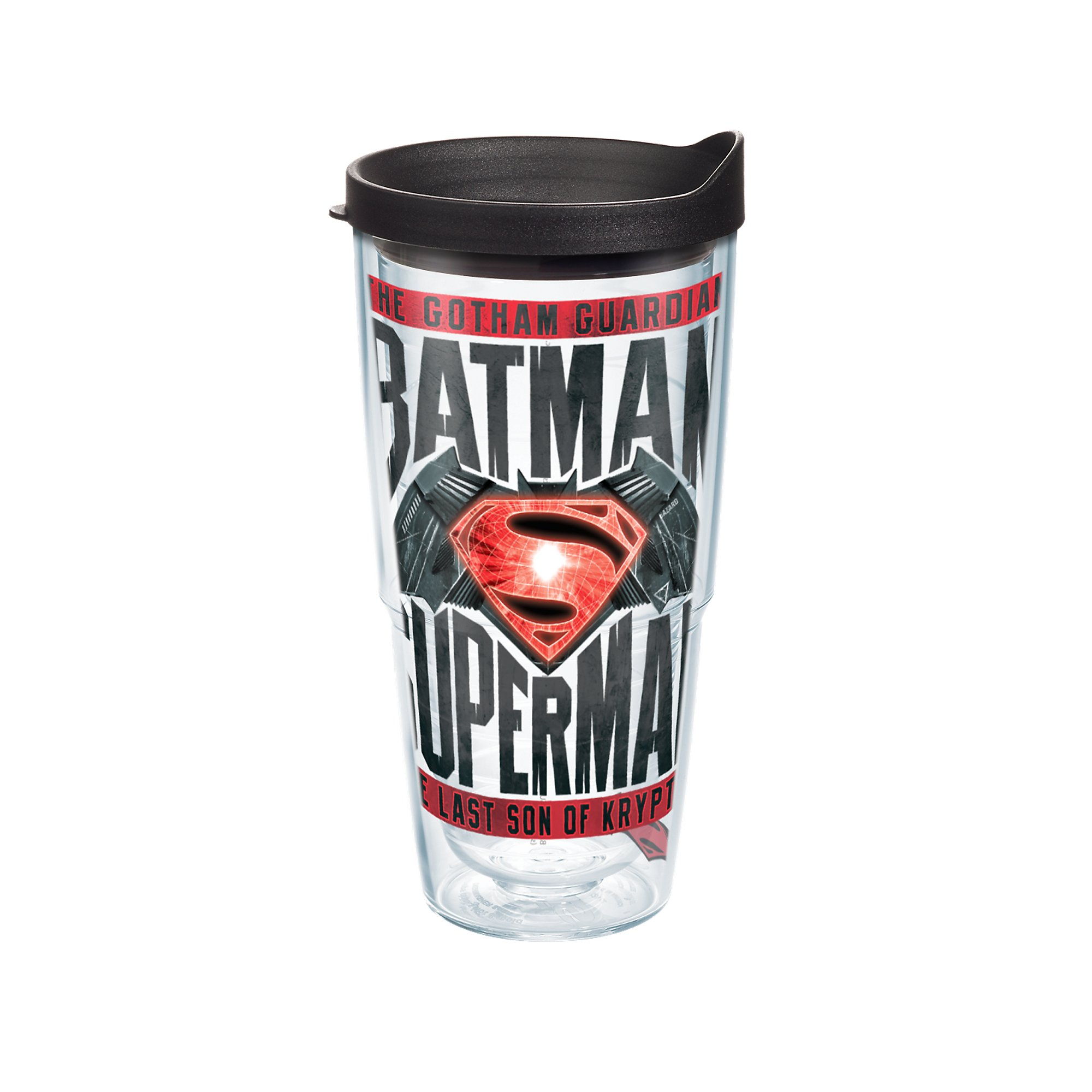 Tervis Warner Brothers Batman vs Superman Movie Wrap Tumbler with Black Lid, 24 oz, Clear