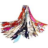 VBIGER スカーフ レディース シルク 髪飾り バッグ飾り 持ち手 小物 アクセサリー 通勤 パーティー用 12枚セット 服に組み合わせ易い