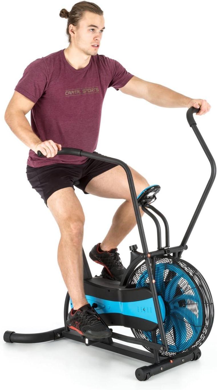 CAPITAL SPORTS Stormstrike 2k Wellness Edition - Bicicleta estática ergométrica, Carga hasta 120 kg, Pantalla integrada, Altura sillín regulable, Entrenamiento dual (Piernas y Brazos), Negra azul: Amazon.es: Deportes y aire libre