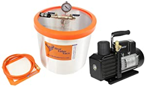 BVV 5 Gallon Aluminum Vacuum Degassing Chamber and VE225 4CFM 2 Stage Vacuum Pump Kit