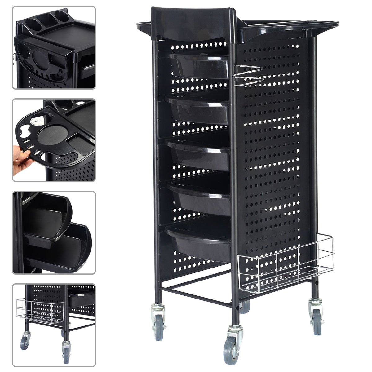 40'' Beauty Salon Spa Styling Station Trolley Equipment Rolling Storage Tray Cart