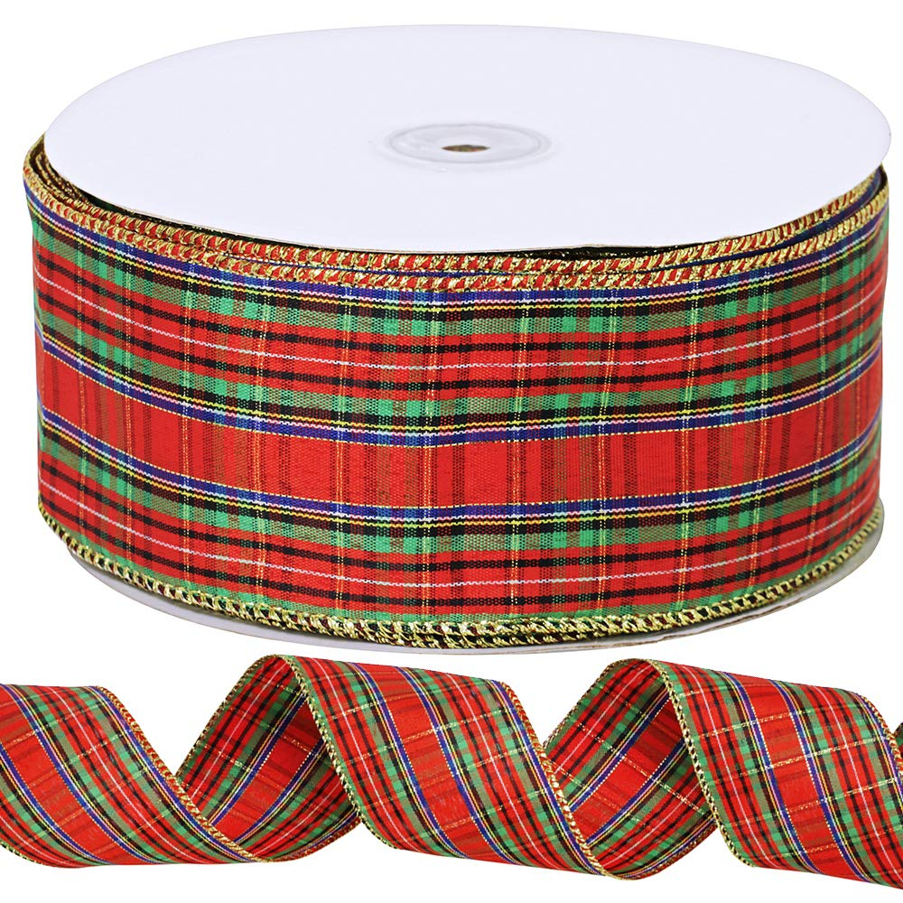 Supla 55 Yard 2-1/2 Wide 1 Roll Decorative Scottish Winter Red Plaid Xmas Ribbon Christmas Tree Wired Ribbon Holiday Gift Ribbon Wreath Ribbon Wrapping Ribbon for Crafts Indoor Outdoor