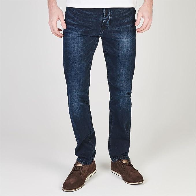 Soviet Hombre Jeans Pantalones Vaqueros Rectos Azul/Negro ...