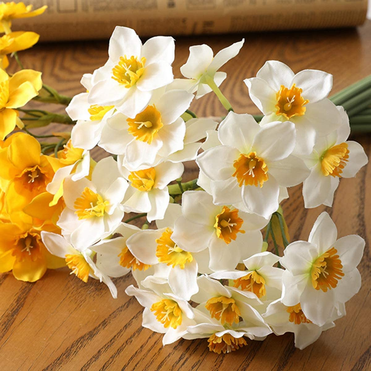 AISE Bridal Bouquet DIY Wreath Living Room Wedding Garland Artificial Plant Fake Flowers Narcissus Daffodil white