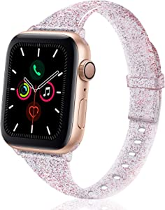 TSAAGAN Glitter Slim Silicone Band Compatible with Apple Watch 38mm 42mm 40mm 44mm, Sparkly Bling Thin Replacement Wristband Accessory for iWatch Series 5/4/3/2/1 (Glitter Wine red, 38mm/40mm)