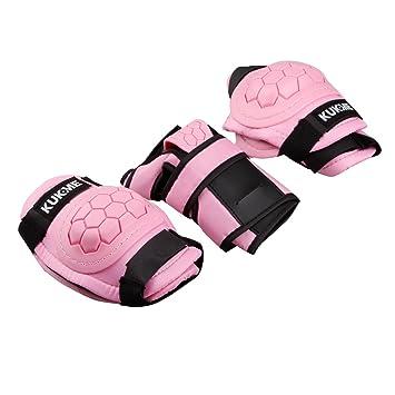 Protecciones Infantiles Skate Bicicleta Monopatín, Almohadillas de muñeca de codos de rodilla (rosado, M)