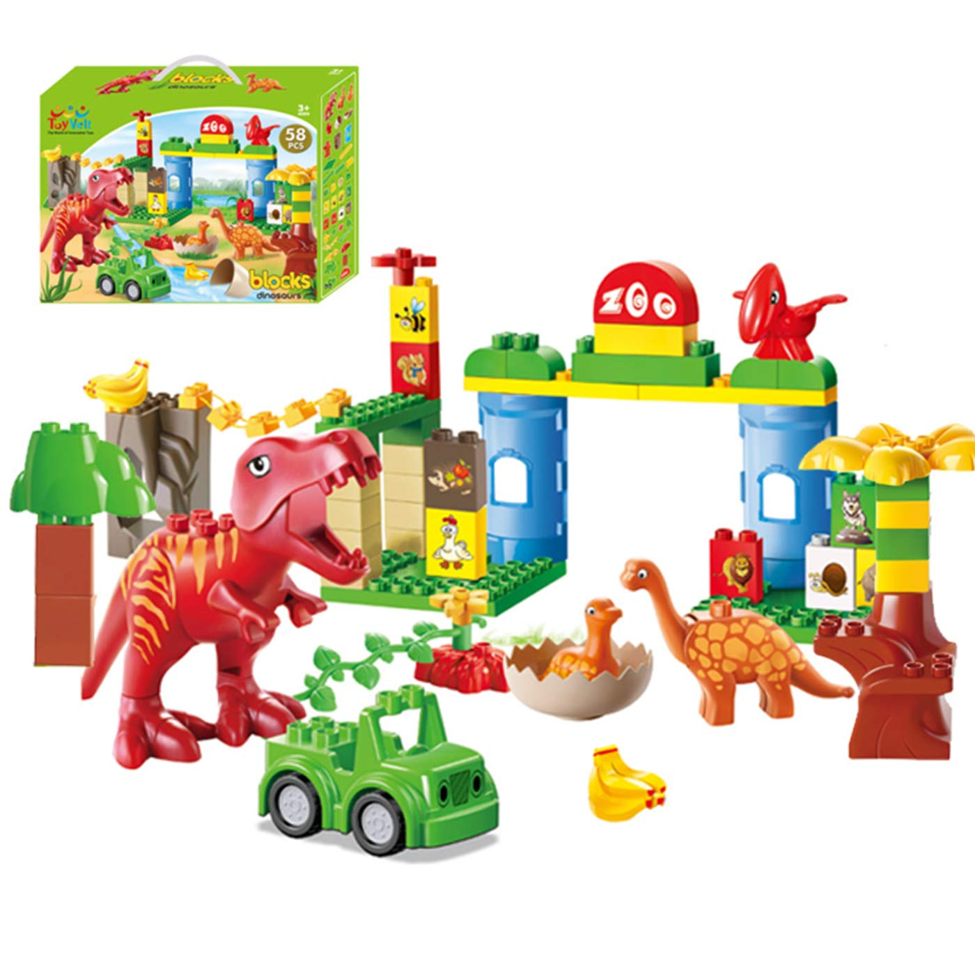 ToyVelt Dinosaur Blocks Toy – 58 Piece Jurassic Era Block Set – Jurassic Construction Toys – Entertaining and Educational Children's Toys – for Boys & Girls Ages 3 -12 Years Old