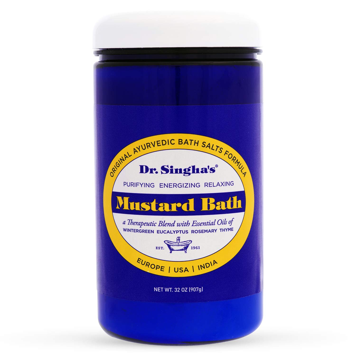 Dr  Singha's Mustard Bath, Therapeutic Bath Salts, 8 Ounce - Relaxing Bath  Salts with Essential Oils For