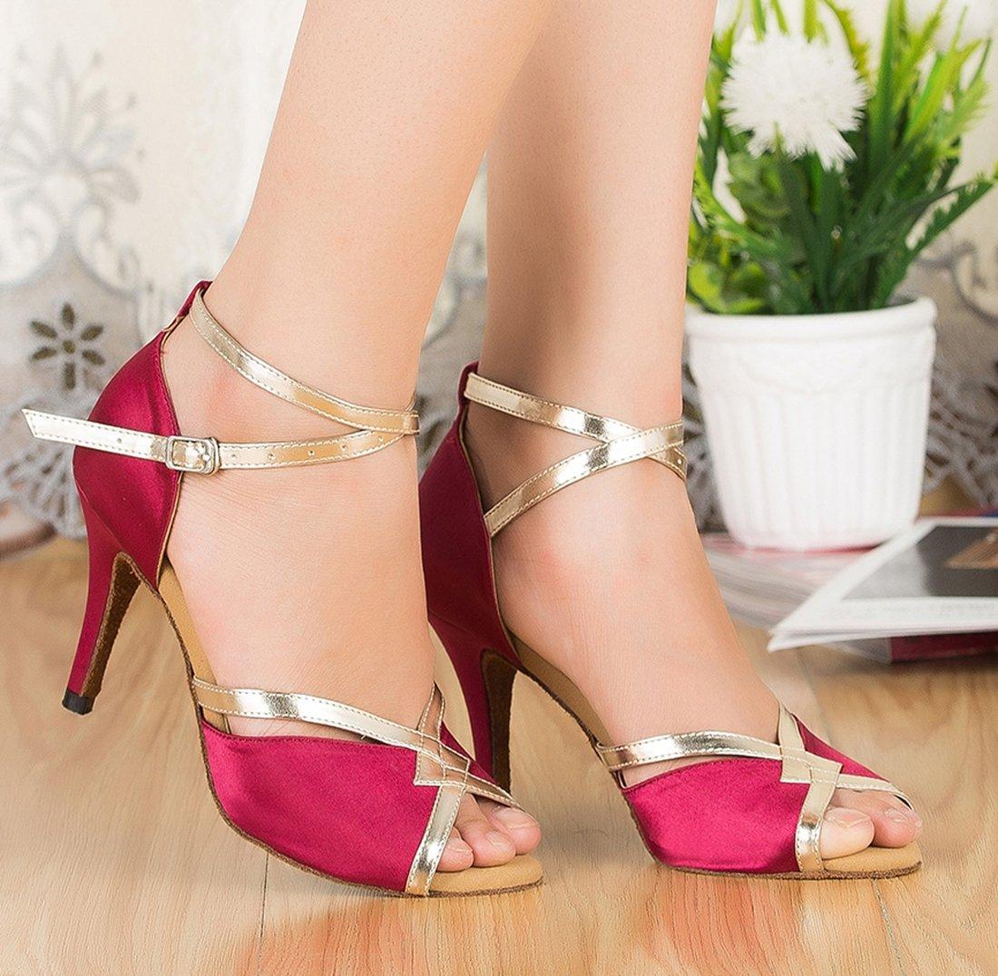 Boda Zapatos Moderna Sintética Rumba Latina de baile TDA Womens Correa Tobillera Samba CM106 fZyFqzR