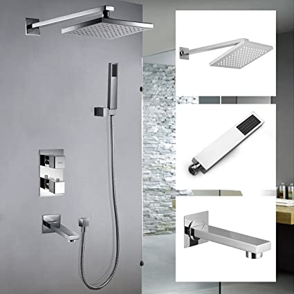 Chrome Design Bath Thermostatic Conceal Valve Square Head Shower Mixer Set NEW