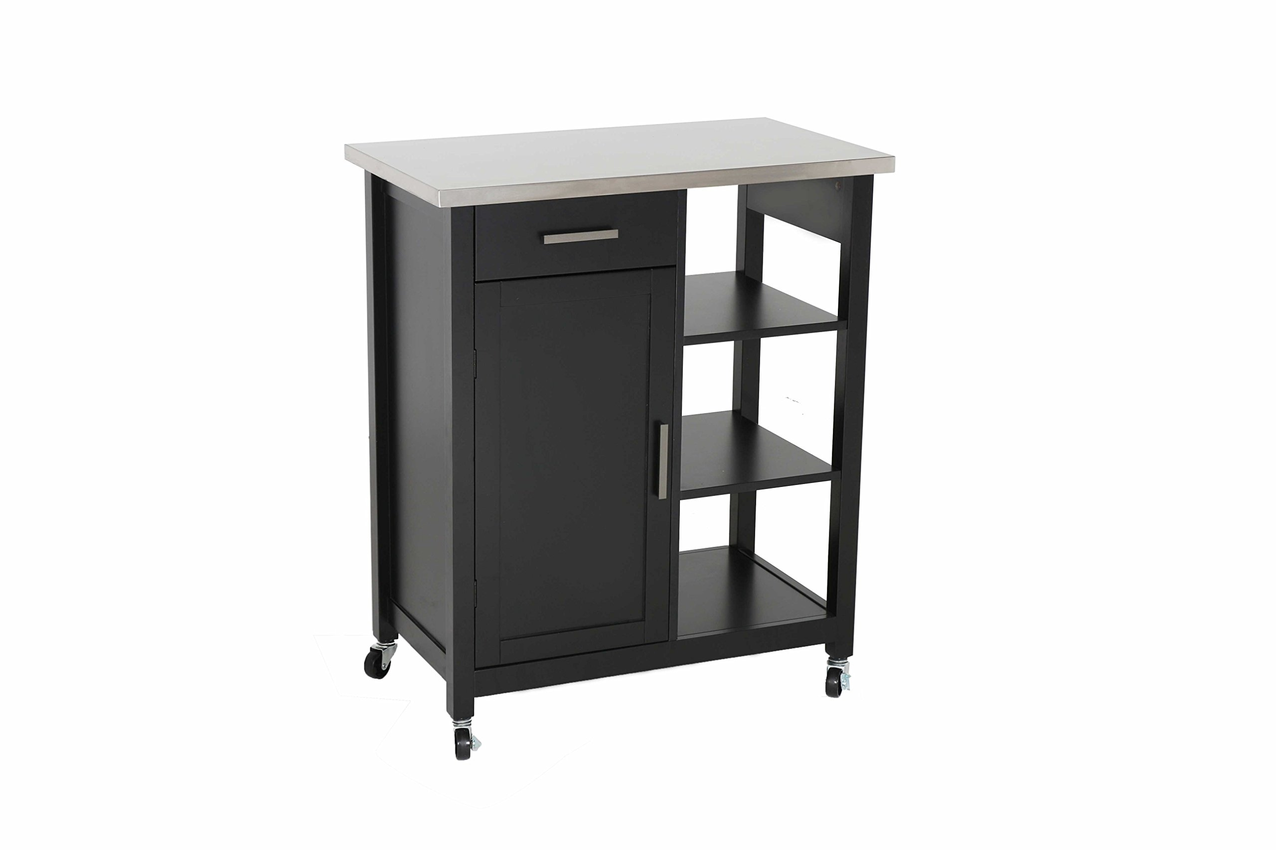 LIFE Home Oliver and Smith - Nashville Collection - Mobile Kitchen Island Cart on Wheels - Black - Stainless Steel Top - 32'' W x 17'' L x 36'' H 102117-01blk