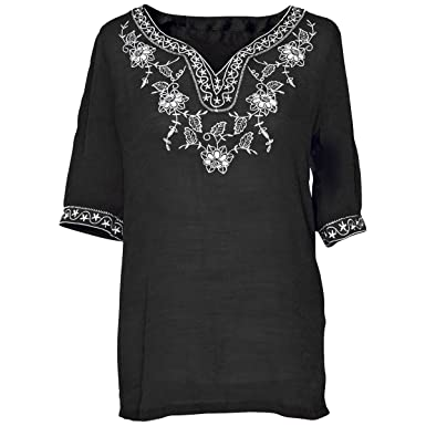 Faship Womens Short Sleeve Embroidered Embroidery Tunic Top Blouse Black
