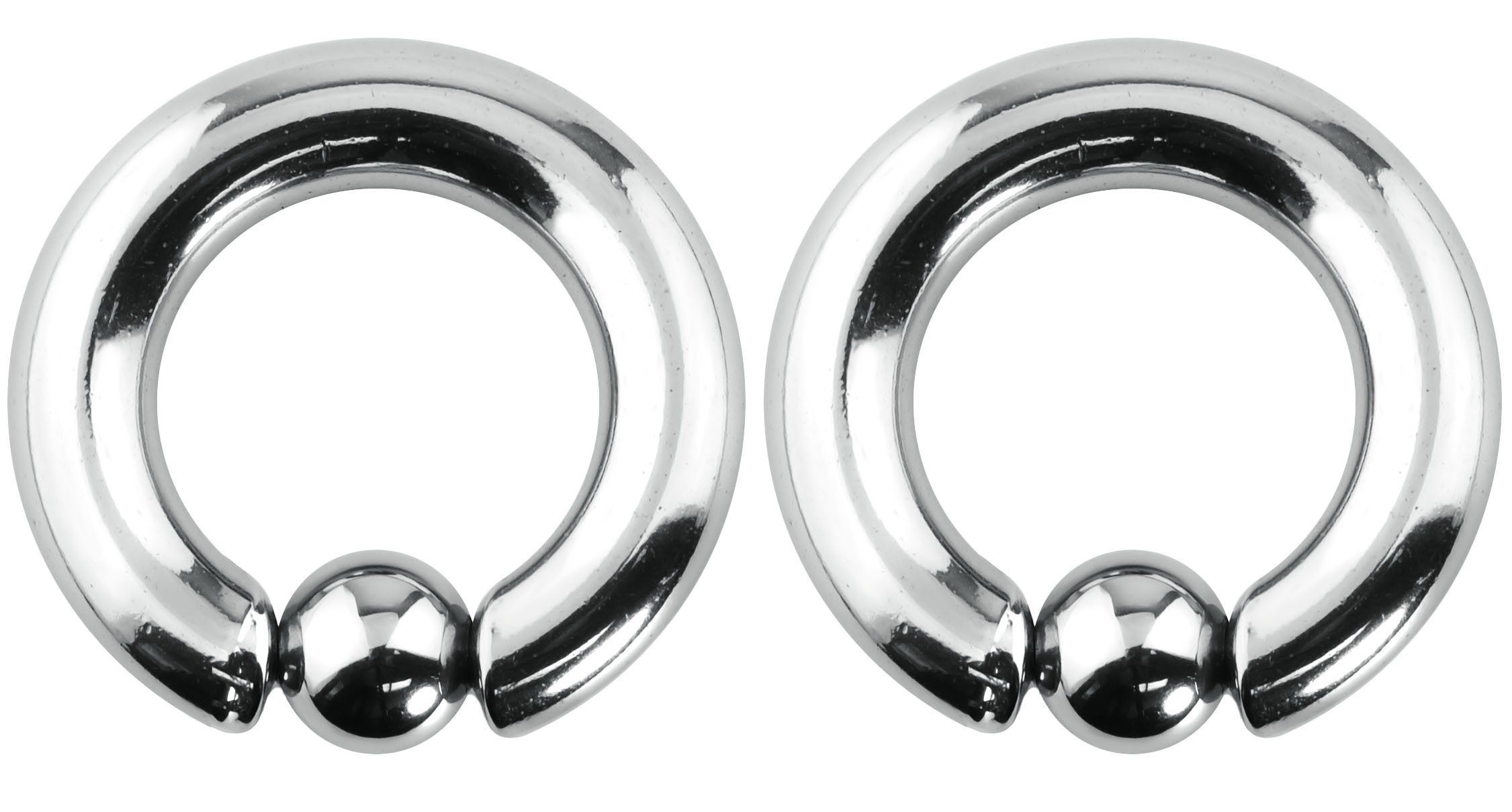 Forbidden Body Jewelry Pair of 2g 16mm Surgical Steel Captive Bead Ring Body Piercing Hoops, 8mm Balls (2pcs)