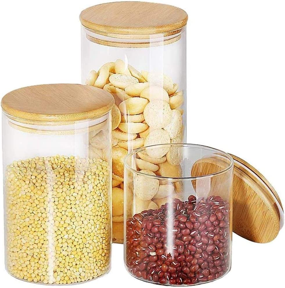Round Glass jars - Wide Mouth Food Storage Containers with Leak Proof Lid Ideal Kitchen Accessories for Cookies, Flour, Dry Food Storage(3 Sets 26oz 39oz 53oz)