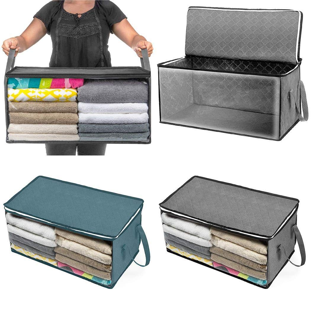 Zimrio Foldable Storage Boxes for Bedding Pillow Clothes Dustproof Moisture-proof Storage Box Tool Boxes with Large Clear Window & Carry Handles