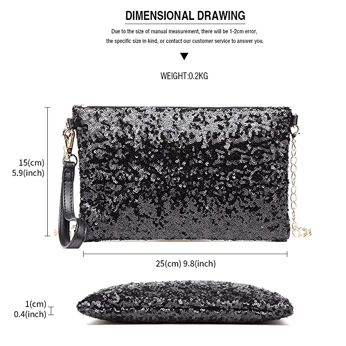 b295a4db3ae Miss Lulu Evening Party Clutch Chain Strap Shining Sequins Handbag Shoulder  Bag Cross Body Bag For Women Girl (1765 Black): Amazon.co.uk: Shoes & Bags