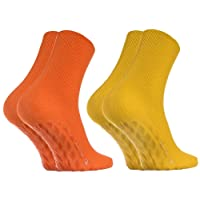 2, 4 oder 8 Paar Anti-Rutsch Socken ohne Gummibund für Geschwollene Füße, Stoppersocken ABS System Für Diabetiker und Krampfader, Größen 36-46, Bequem und Zart, Zertifikat Öko-Tex, made in Europa