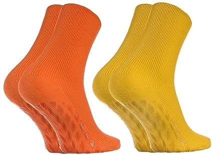 2 pares de Calcetines Antideslizantes, SIN ELÁSTICOS para Diabéticos, Naranja Amarillo talla 36-