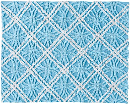 Amazon Com Collections Etc Mandy Chenille White And Blue Double Tufted Diamond And Wedding Ring Pattern Pillow Sham Blue Sham Home Kitchen