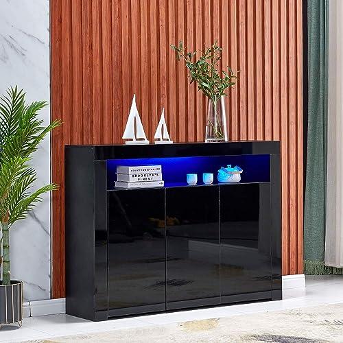 4HOMART High Gloss LED Sideboard Kitchen Storage Cabinet Cupboard Buffet Storage Server Table