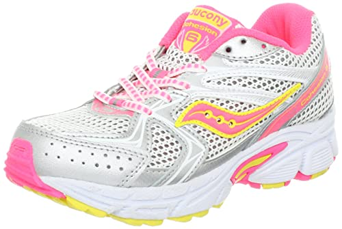 Saucony Girls Cohesion 6 Lace Running Shoe (Little Kid/Big Kid),White/Pink/Citron,10.5 XW US Little Kid