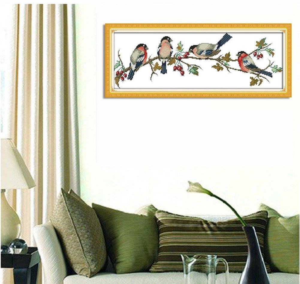 Birds Yeesam Art/® kit per punto croce contato per principianti ed esperti con schema adatto come regalo di Natale e decorazione per la casa /set per ricamo fai da te fatto a mano Bianco