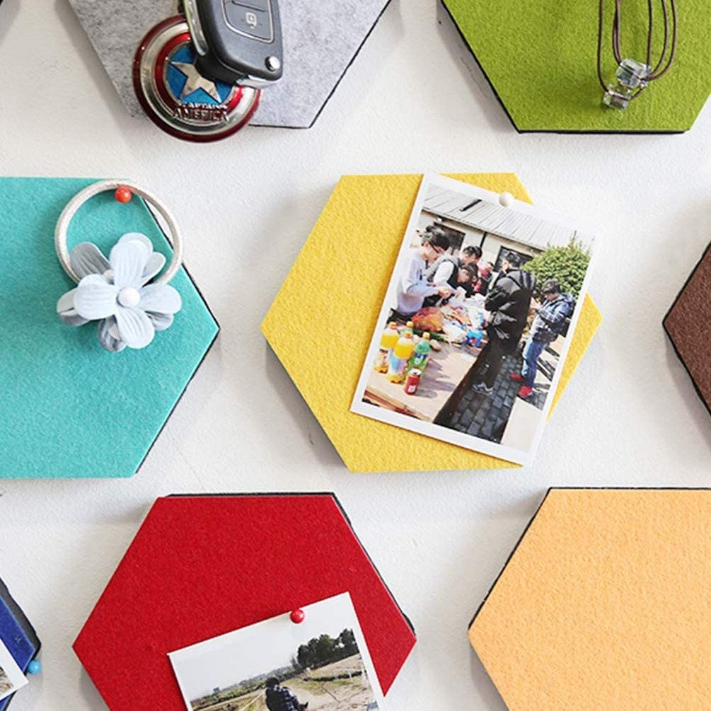 Healifty 20pcs DIY Hexagon Felt Board Felt Cork Board Tiles,Bulletin Board Self Adhesive Notice Board Pins for Photos Memos Display Pin Board Wall Decor Mint Color+Grey