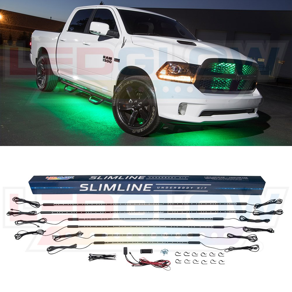 LEDGlow 6pc Green Truck Slimline LED Underbody Underglow Accent Neon Lighting Kit - Solid Color Illumination - Water Resistant, Low Profile Tubes - Included Power Switch Turns Lights On & Off by LEDGlow