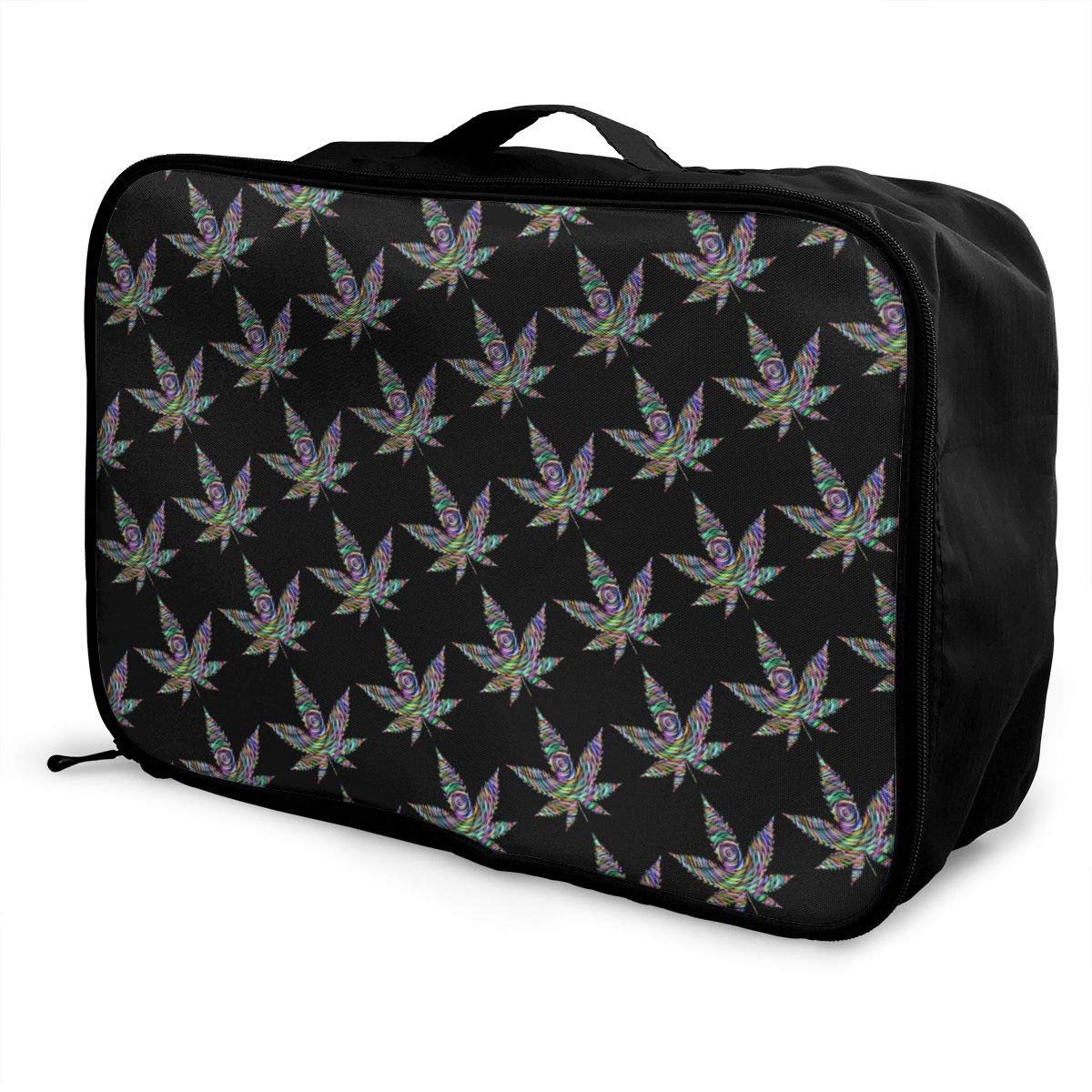 YueLJB Prismatic Marijuana Leaf Lightweight Large Capacity Portable Luggage Bag Travel Duffel Bag Storage Carry Luggage Duffle Tote Bag