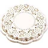 NOVSIX Doilies Paper Lace Cake Packaging Paper Pad White Color SET of 300 PCS